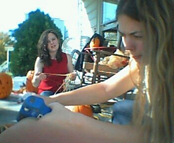 Laura & Jessie Carving Pumpkins